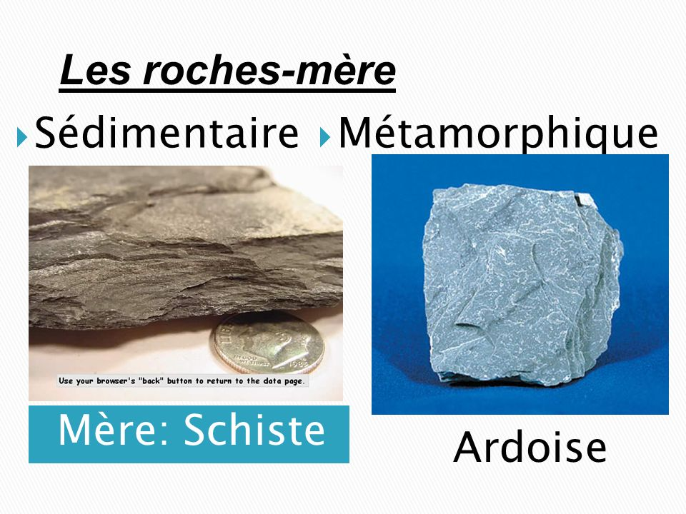 Les roches-mère Sédimentaire Métamorphique Mère: Schiste Ardoise