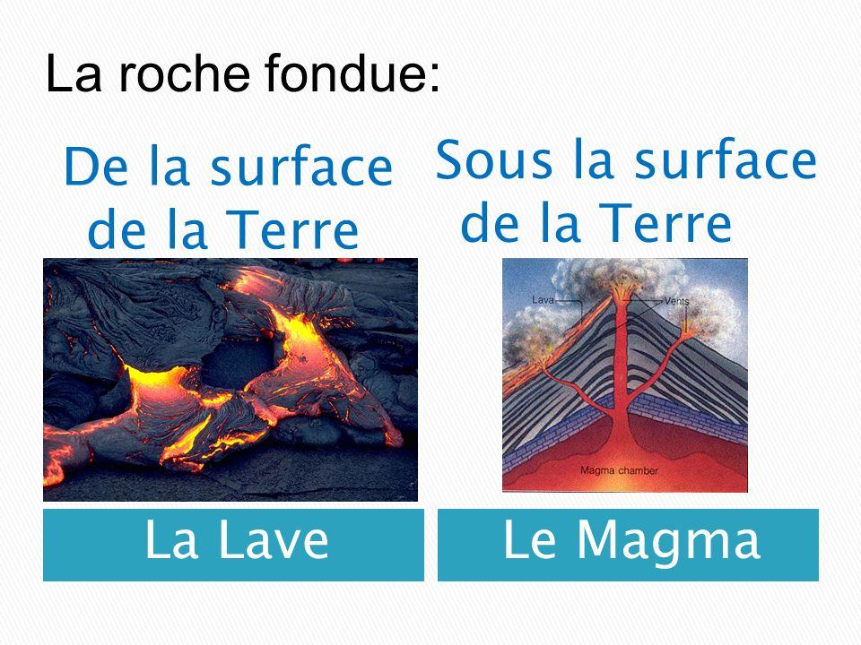 La roche fondue: Sous la surface de la Terre De la surface de la Terre La Lave Le Magma