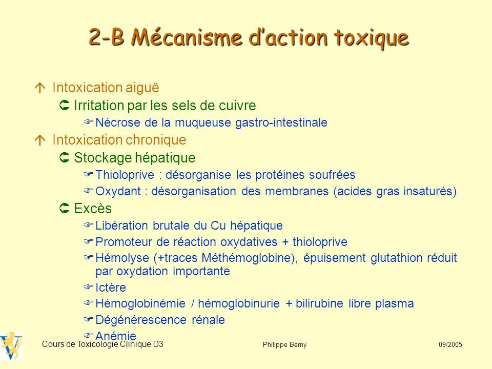 2-B Mécanisme d'action toxique