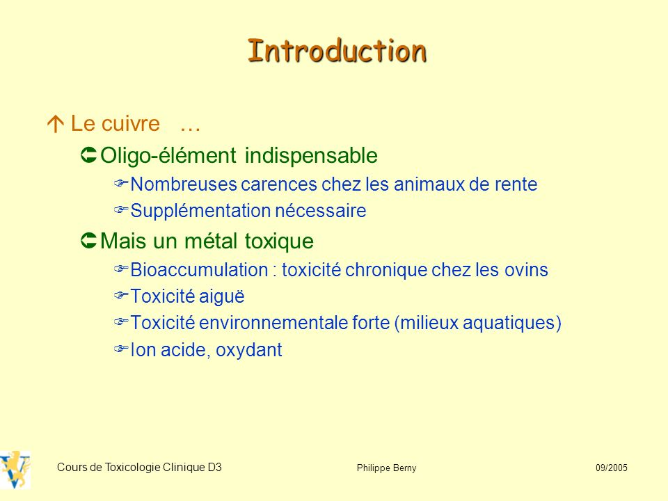 Introduction Le cuivre … Oligo-élément indispensable