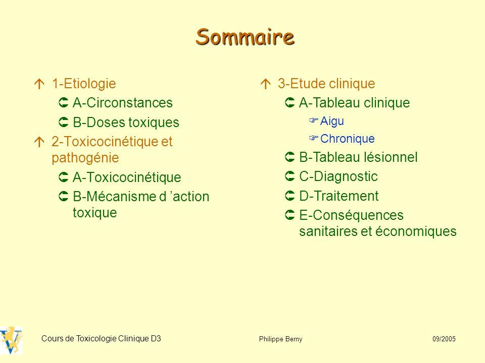 Sommaire 1-Etiologie A-Circonstances B-Doses toxiques
