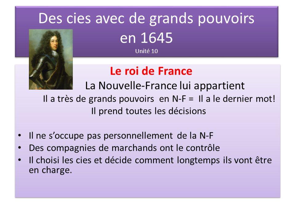 Des cies avec de grands pouvoirs en 1645 Unité 10
