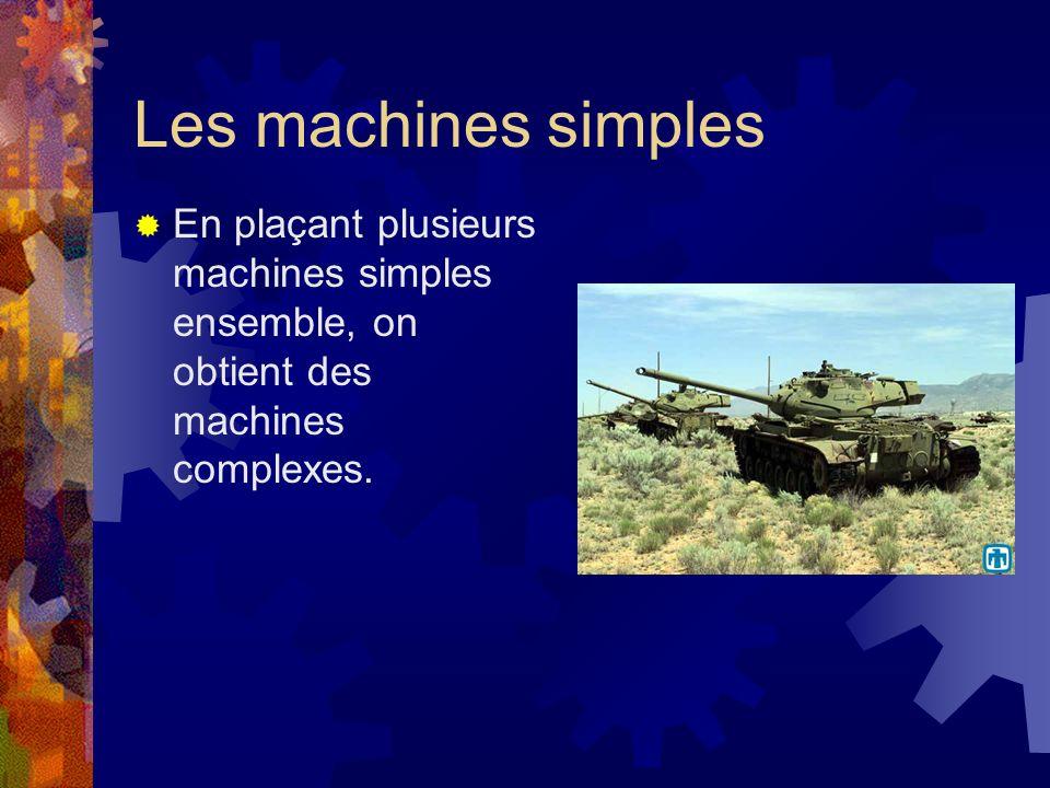 Les machines simplesEn plaçant plusieurs machines simples ensemble, on obtient des machines complexes.