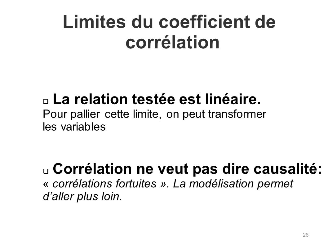 Limites du coefficient de corrélation