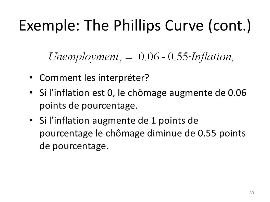 Exemple: The Phillips Curve (cont.)