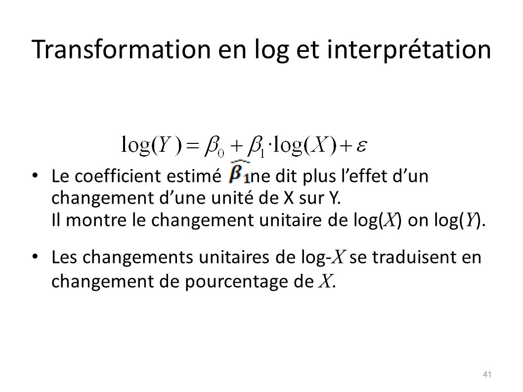 Transformation en log et interprétation