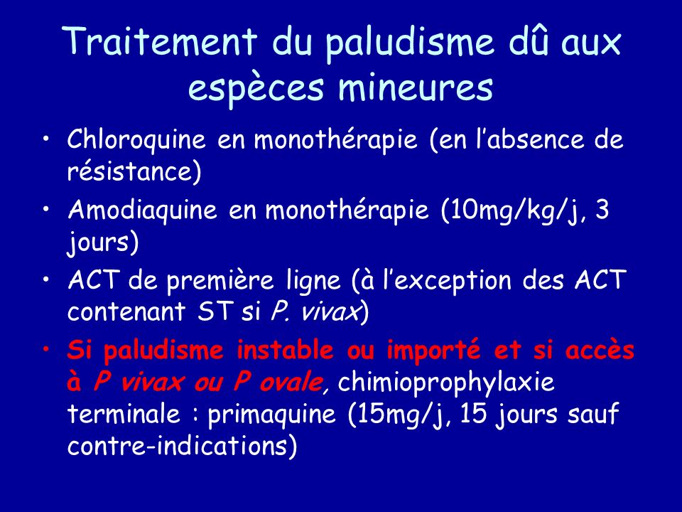 Plasmodium • Protozoaire : hématozoaire • • • 4 espèces