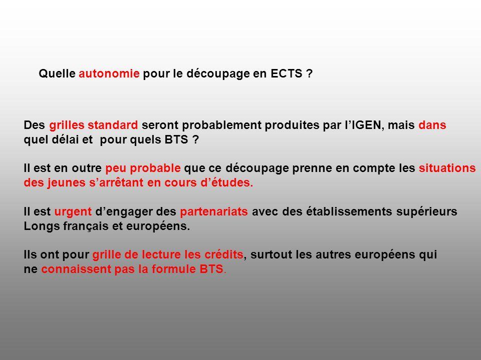 Quelle autonomie pour le découpage en ECTS