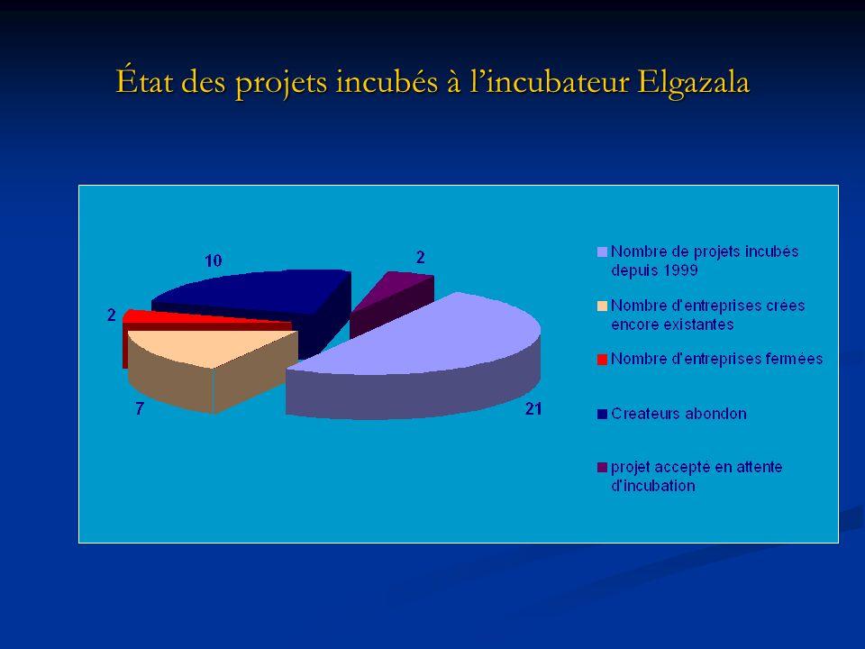État des projets incubés à l'incubateur Elgazala