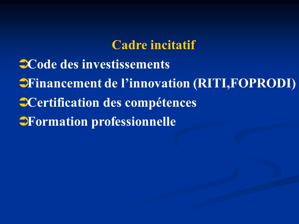Cadre incitatif Code des investissements. Financement de l'innovation (RITI,FOPRODI) Certification des compétences.