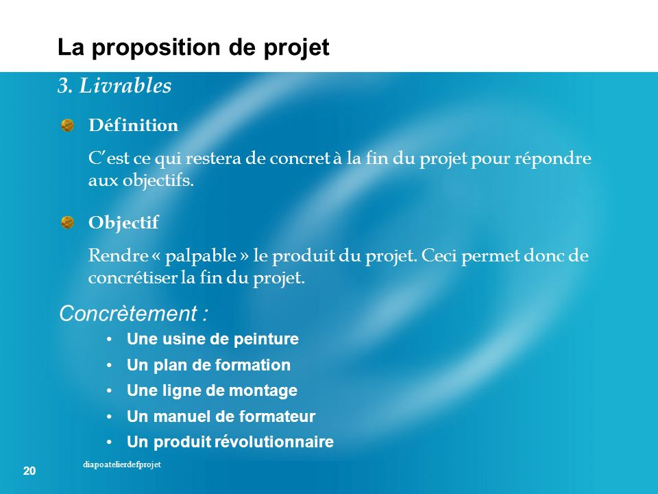 La proposition de projet