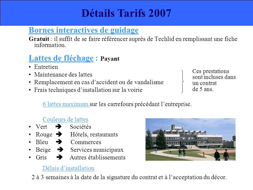 Détails Tarifs 2007 Bornes interactives de guidage