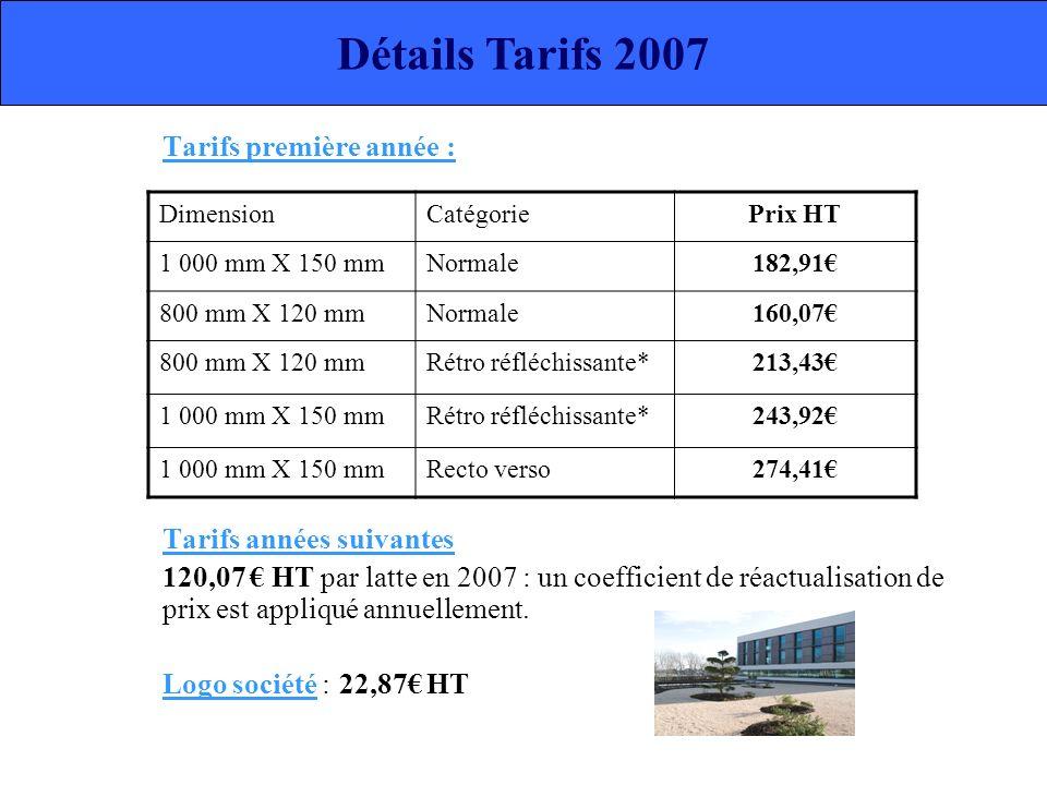 Détails Tarifs 2007 Tarifs première année : Tarifs années suivantes