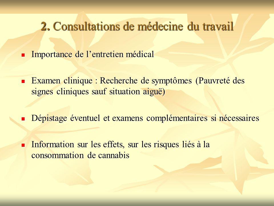 2. Consultations de médecine du travail