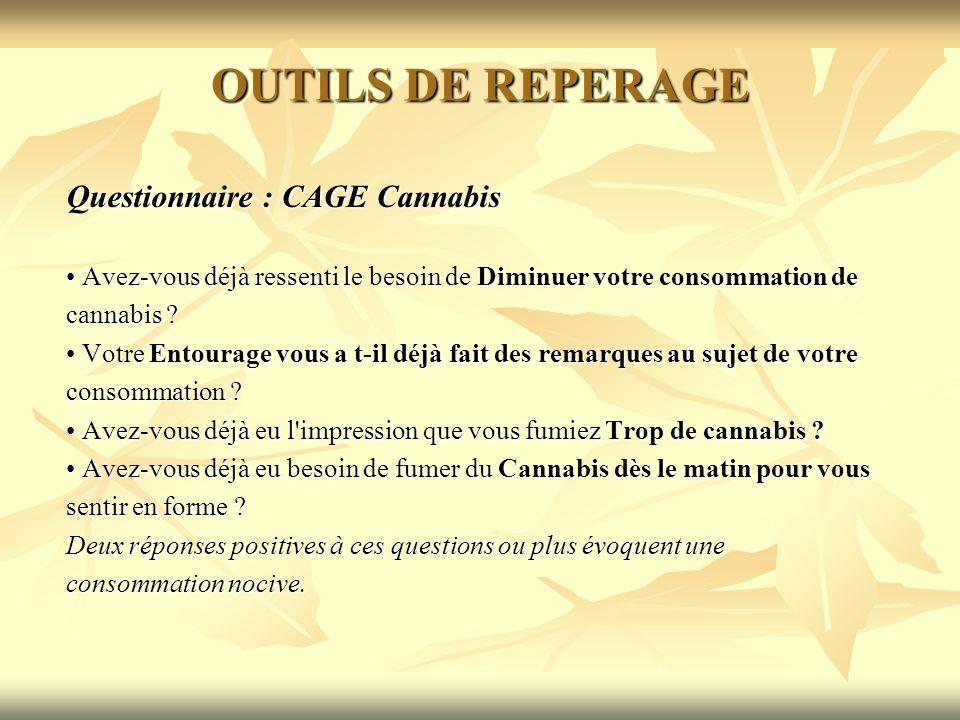 OUTILS DE REPERAGE Questionnaire : CAGE Cannabis