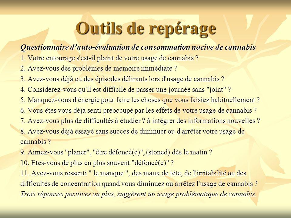 Outils de repérage Questionnaire d'auto-évaluation de consommation nocive de cannabis.