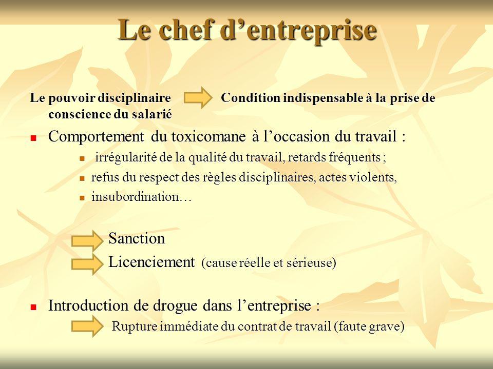 Le chef d'entreprise Le pouvoir disciplinaire Condition indispensable à la prise de conscience du salarié.