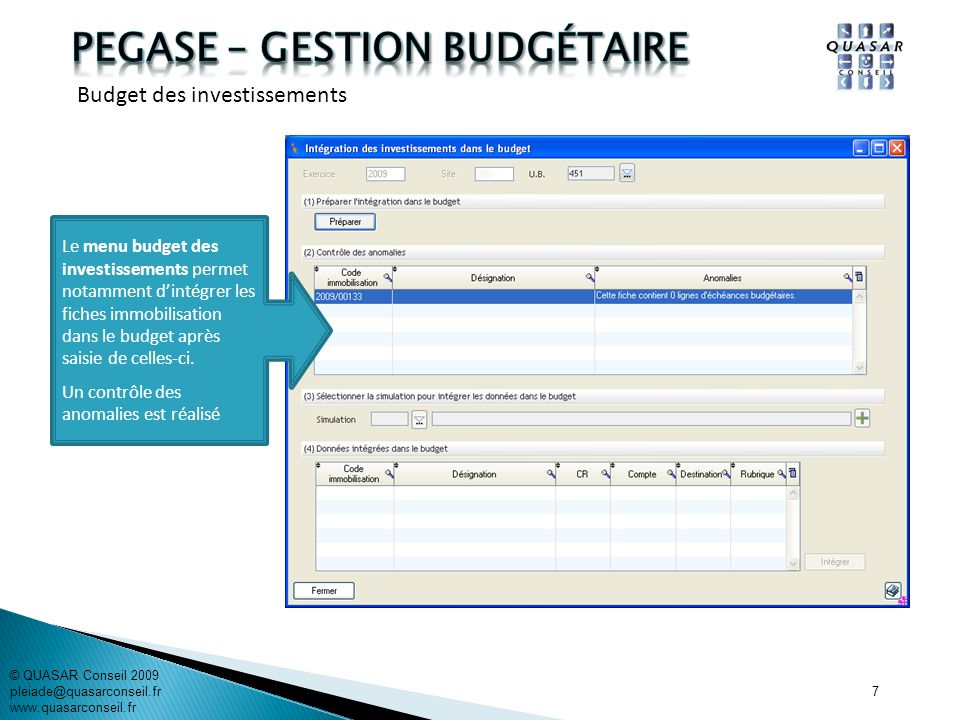 PEGASE – gestion budgétaire