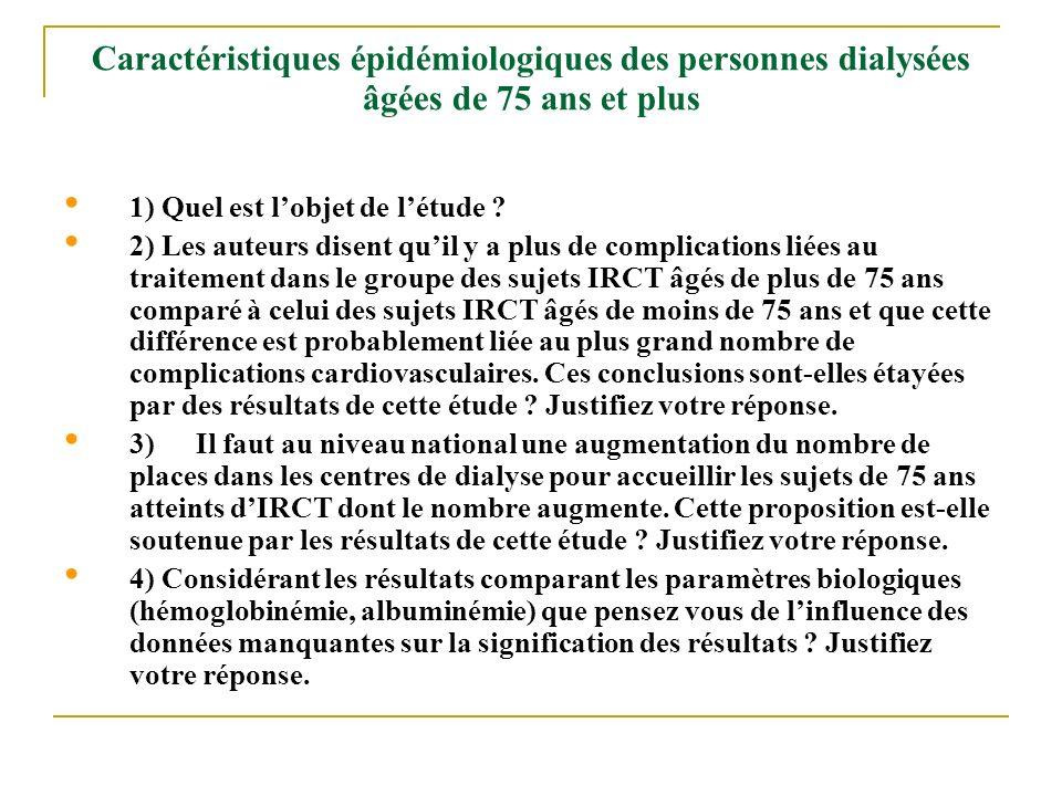 Caractéristiques épidémiologiques des personnes dialysées âgées de 75 ans et plus