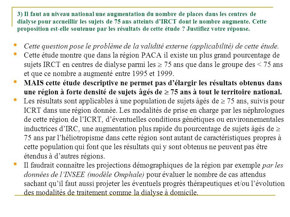 3) Il faut au niveau national une augmentation du nombre de places dans les centres de dialyse pour accueillir les sujets de 75 ans atteints d'IRCT dont le nombre augmente. Cette proposition est-elle soutenue par les résultats de cette étude Justifiez votre réponse.