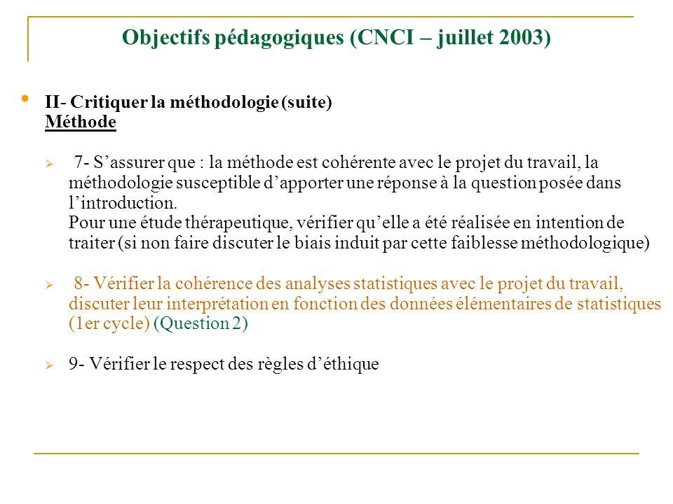 Objectifs pédagogiques (CNCI – juillet 2003)
