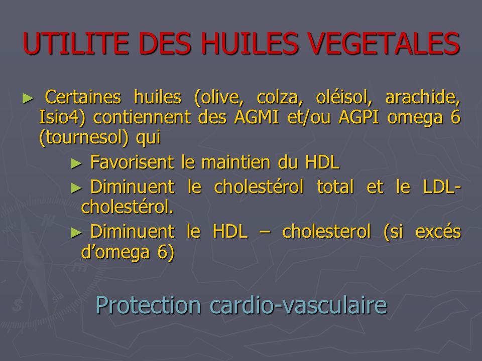 UTILITE DES HUILES VEGETALES