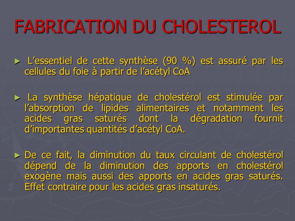 FABRICATION DU CHOLESTEROL