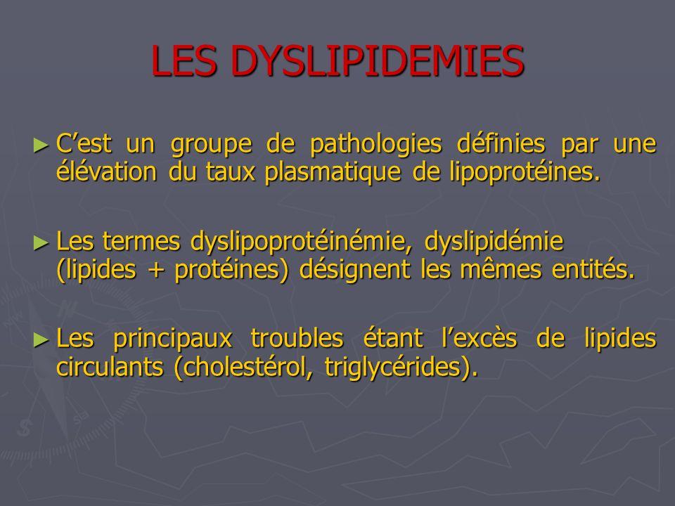 LES DYSLIPIDEMIES C'est un groupe de pathologies définies par une élévation du taux plasmatique de lipoprotéines.