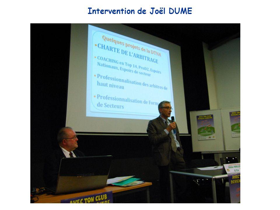 Intervention de Joël DUME
