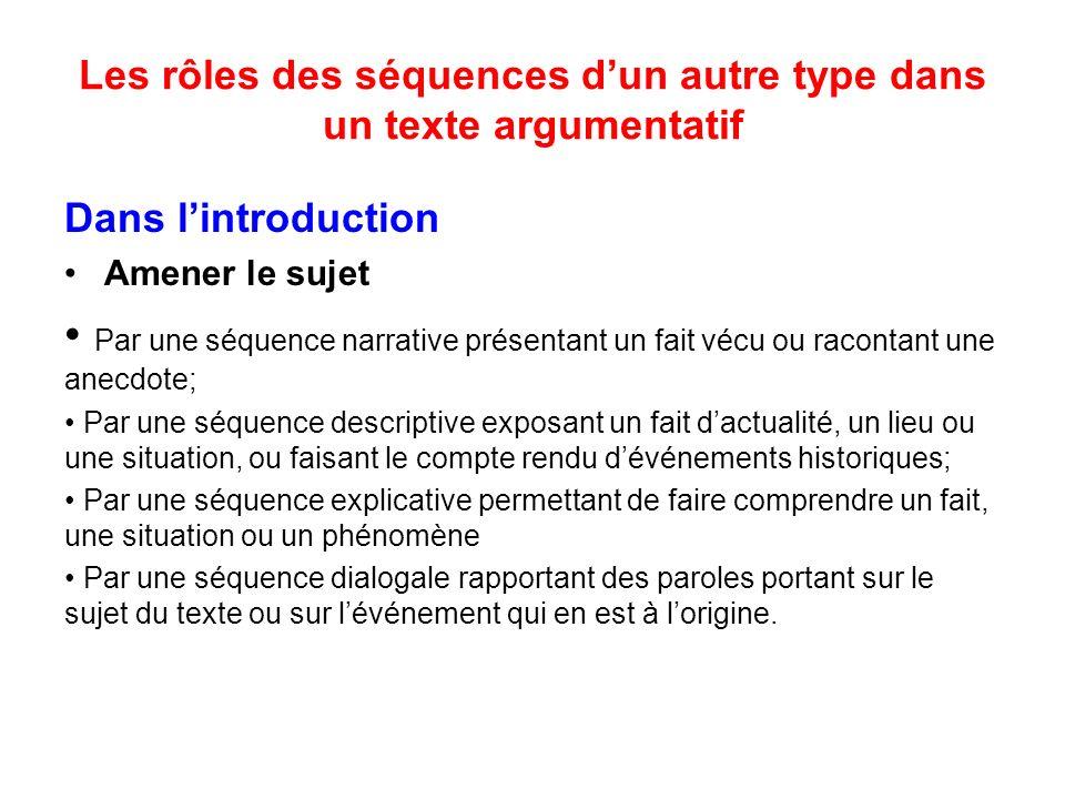 Les rôles des séquences d'un autre type dans un texte argumentatif