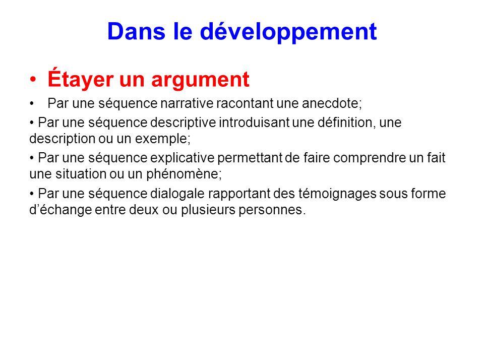 Dans le développement Étayer un argument
