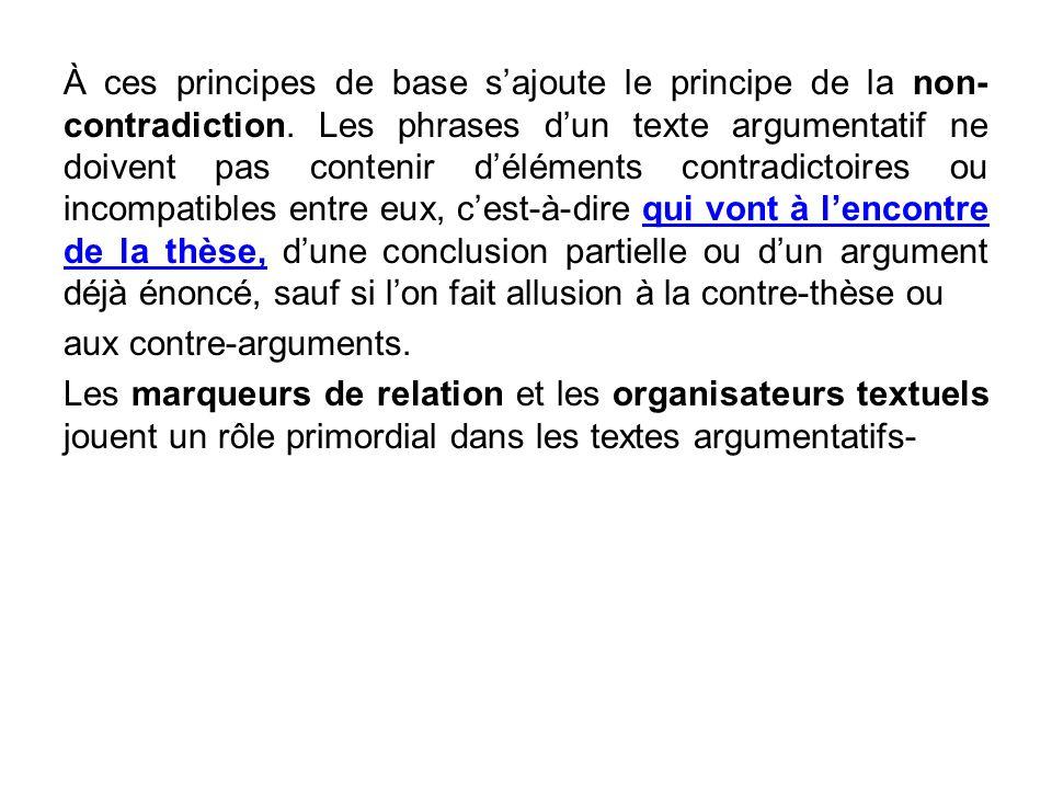À ces principes de base s'ajoute le principe de la non-contradiction