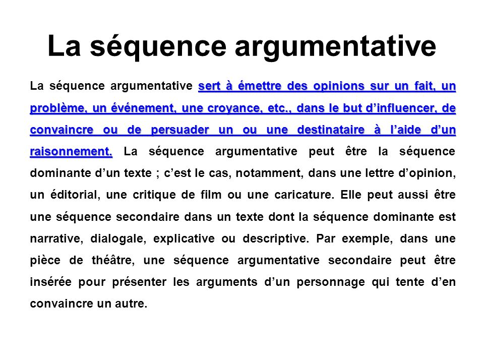 La séquence argumentative