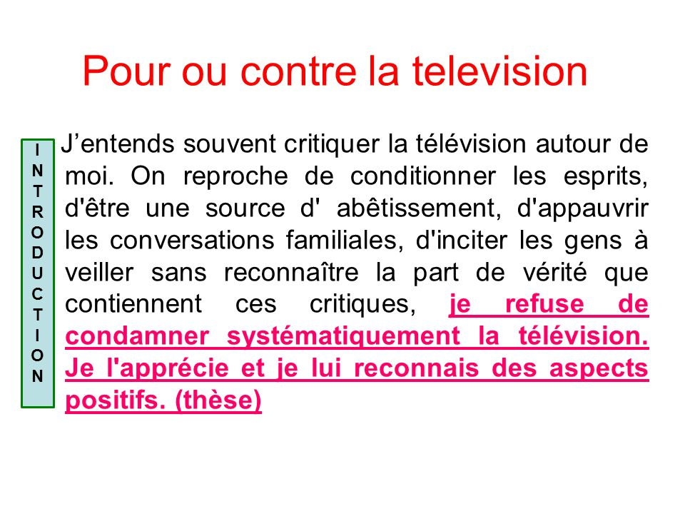 Pour ou contre la television