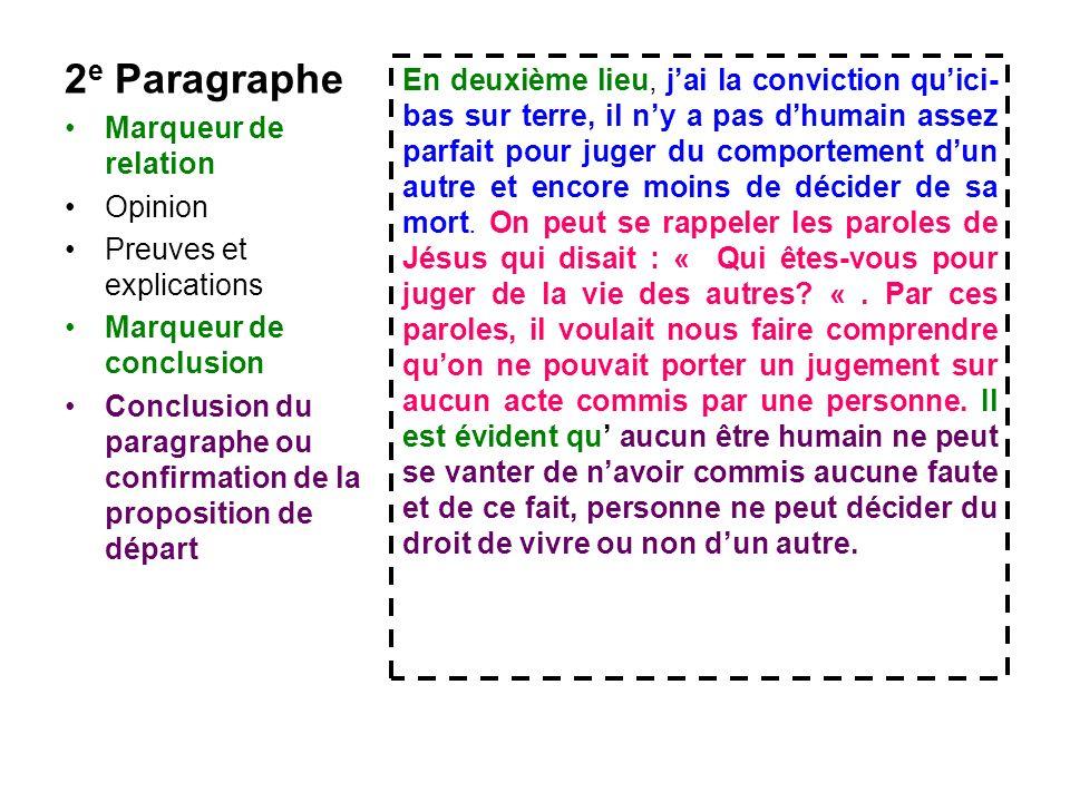 2e Paragraphe Marqueur de relation. Opinion. Preuves et explications. Marqueur de conclusion.