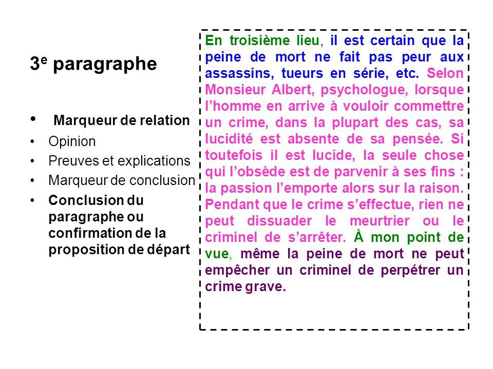 3e paragraphe Marqueur de relation