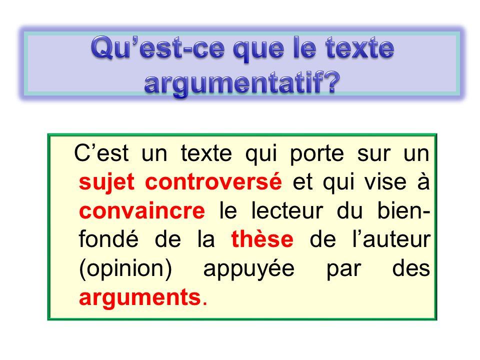 Qu'est-ce que le texte argumentatif