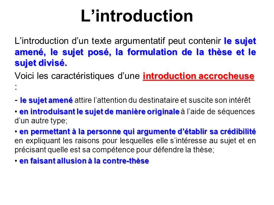 L'introduction L'introduction d'un texte argumentatif peut contenir le sujet amené, le sujet posé, la formulation de la thèse et le sujet divisé.