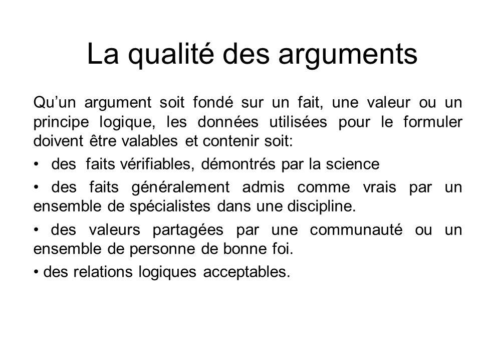 La qualité des arguments