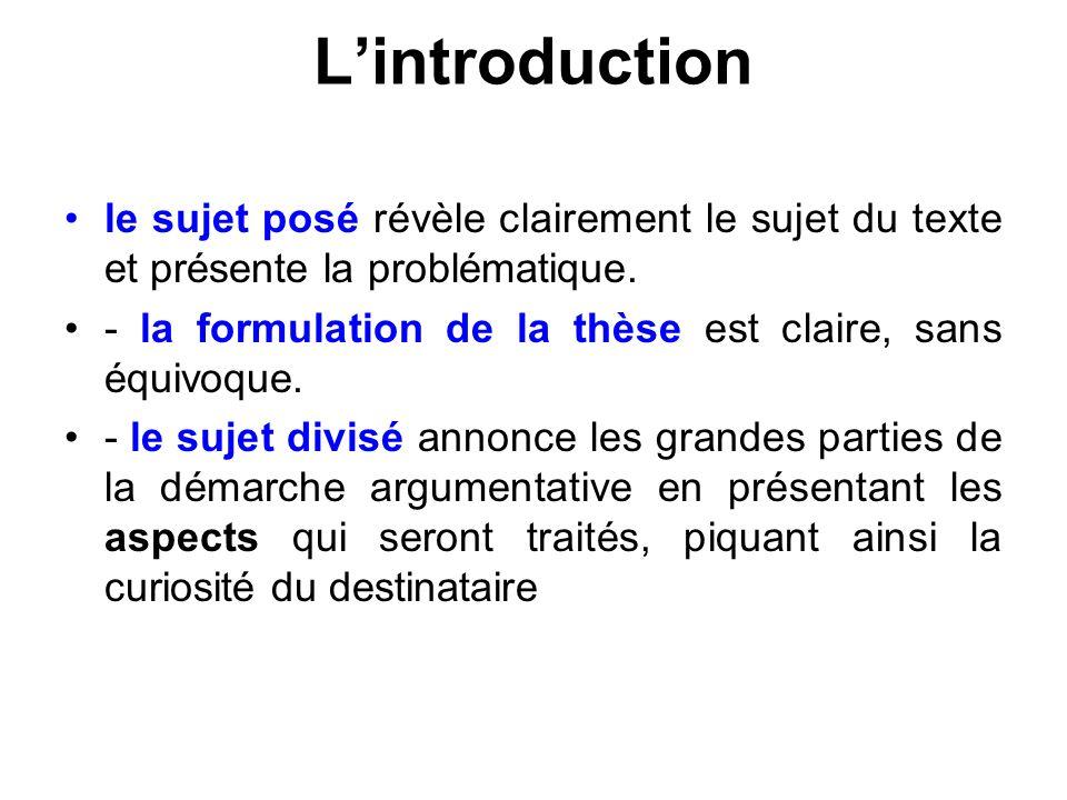 L'introduction le sujet posé révèle clairement le sujet du texte et présente la problématique.