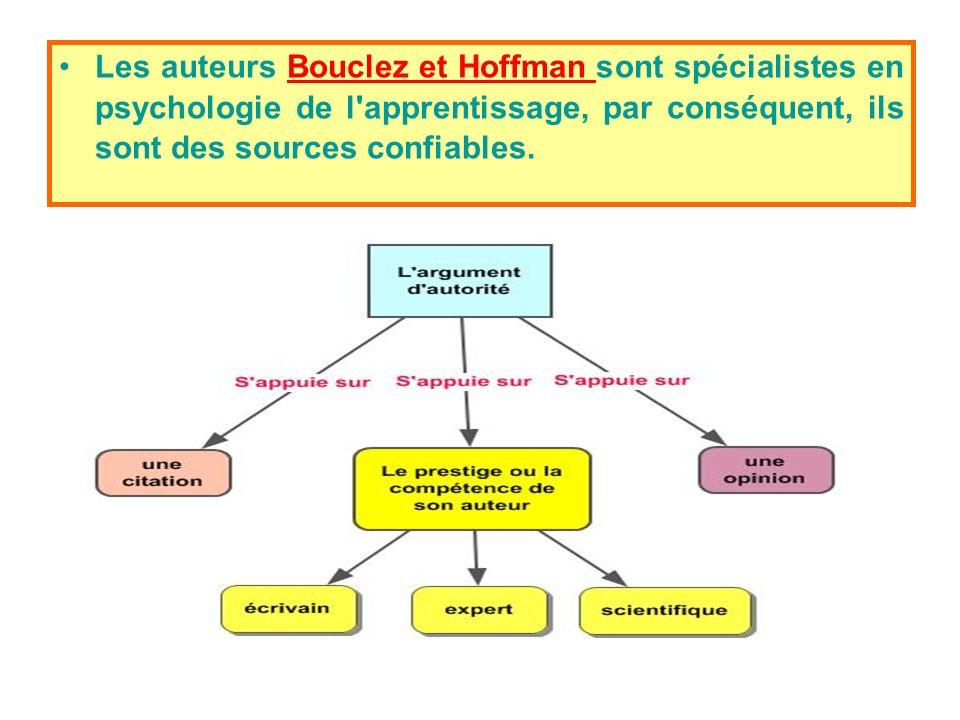Les auteurs Bouclez et Hoffman sont spécialistes en psychologie de l apprentissage, par conséquent, ils sont des sources confiables.