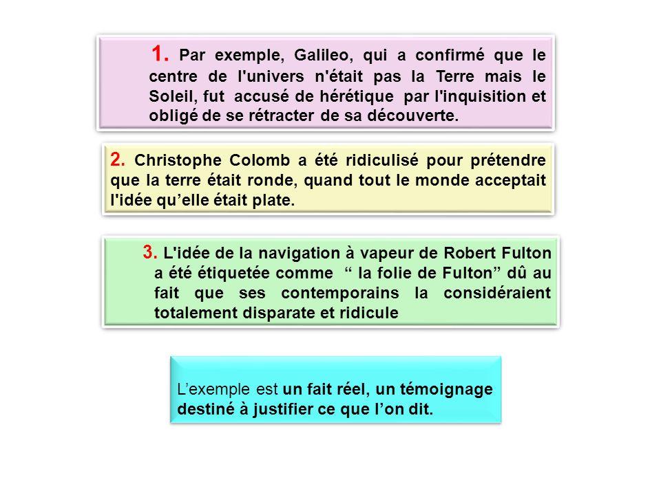 1. Par exemple, Galileo, qui a confirmé que le centre de l univers n était pas la Terre mais le Soleil, fut accusé de hérétique par l inquisition et obligé de se rétracter de sa découverte.