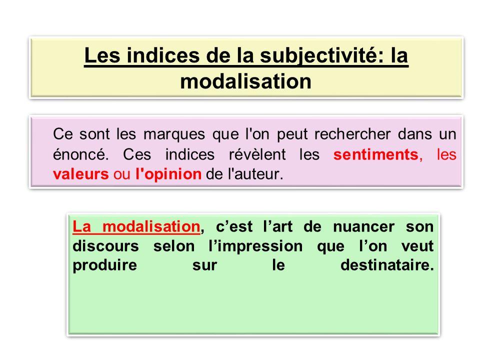 Les indices de la subjectivité: la modalisation