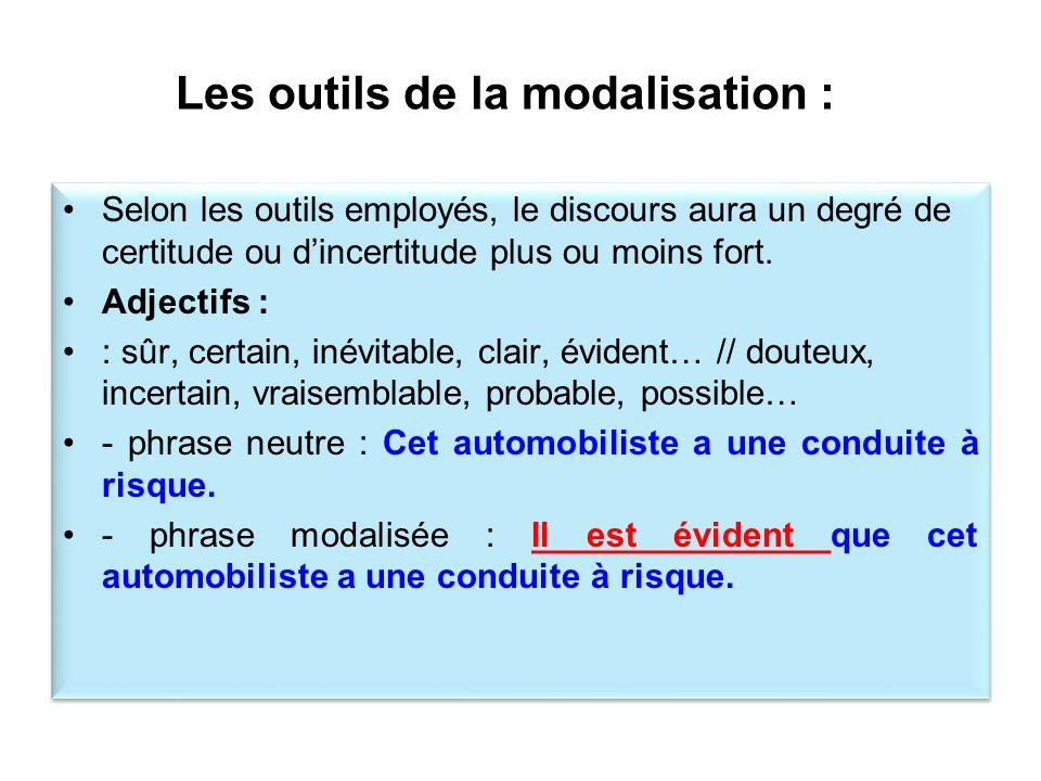 Les outils de la modalisation :
