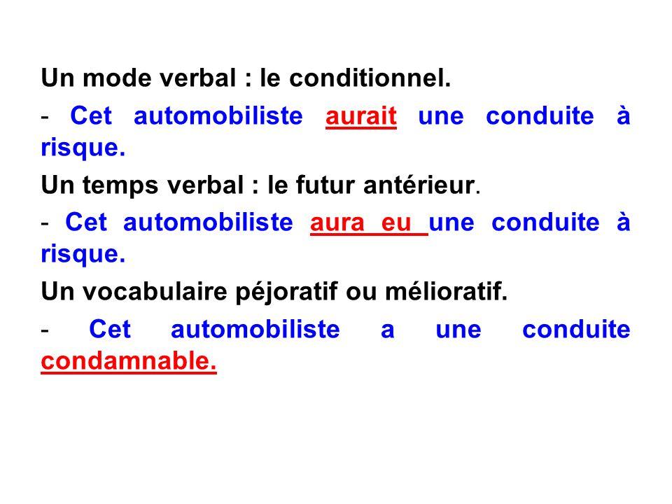 Un mode verbal : le conditionnel.