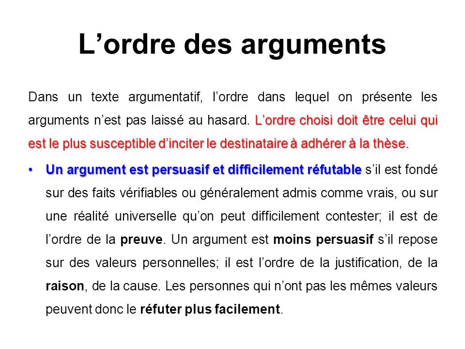 L'ordre des arguments