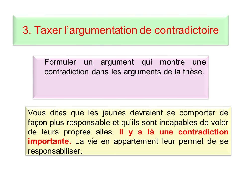 3. Taxer l'argumentation de contradictoire