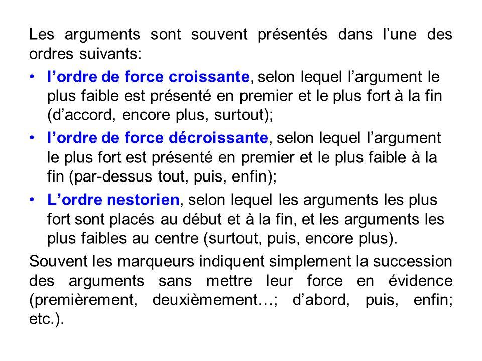 Les arguments sont souvent présentés dans l'une des ordres suivants: