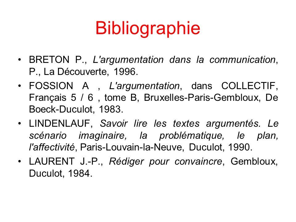 Bibliographie BRETON P., L argumentation dans la communication, P., La Découverte, 1996.
