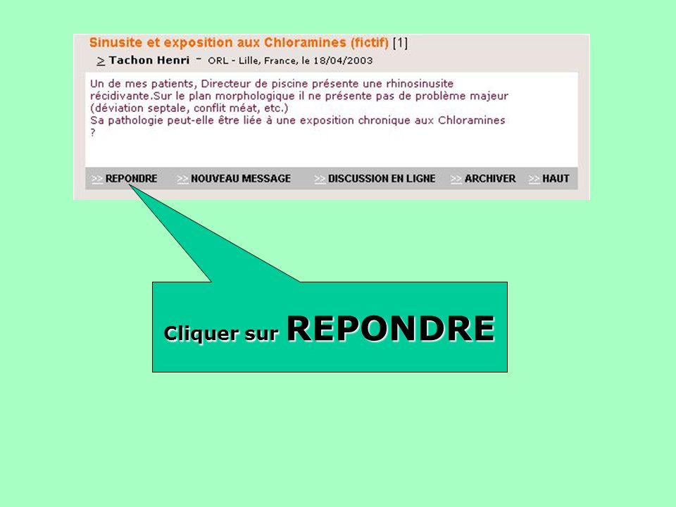 Cliquer sur REPONDRE